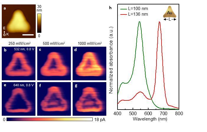 금속-반도체 접합 나노 다이오드로부터 실시간으로 촬영한 핫홀의 검출 모습 : 금 나노구조체 외곽의 광전류가 급격히 증가되고 핫홀이 발생하는 것을 확인